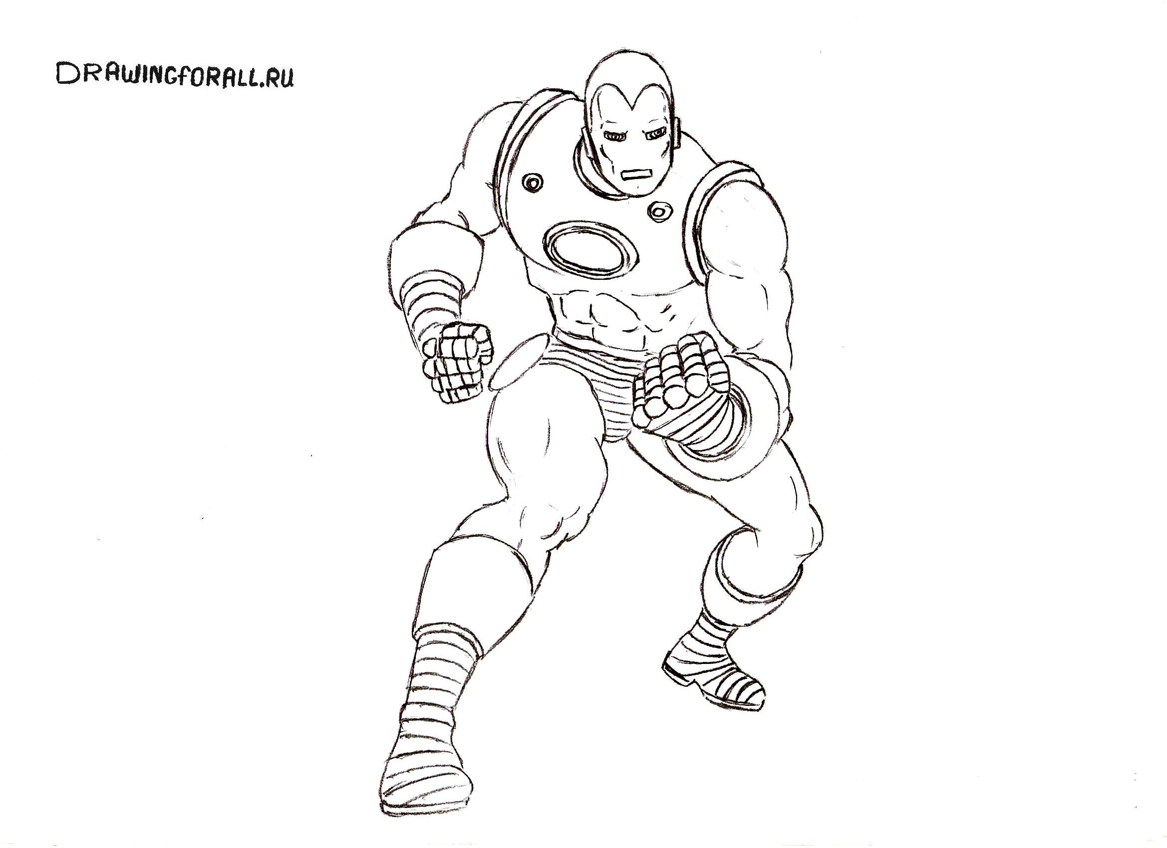 как нарисовать костюм железного человека