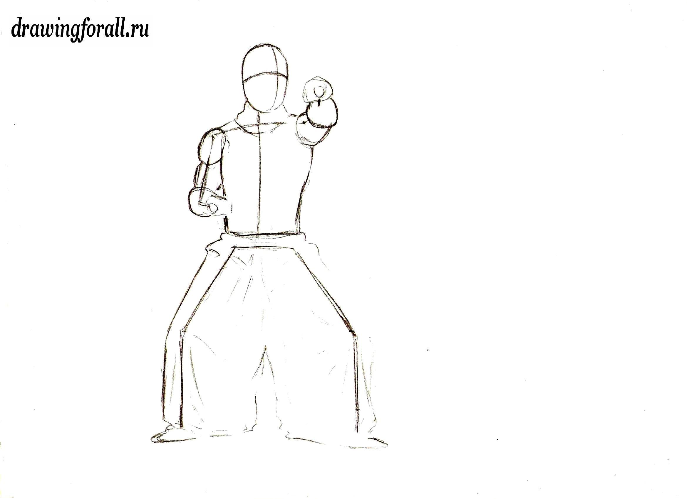 как нарисовать ниндзю карандашом