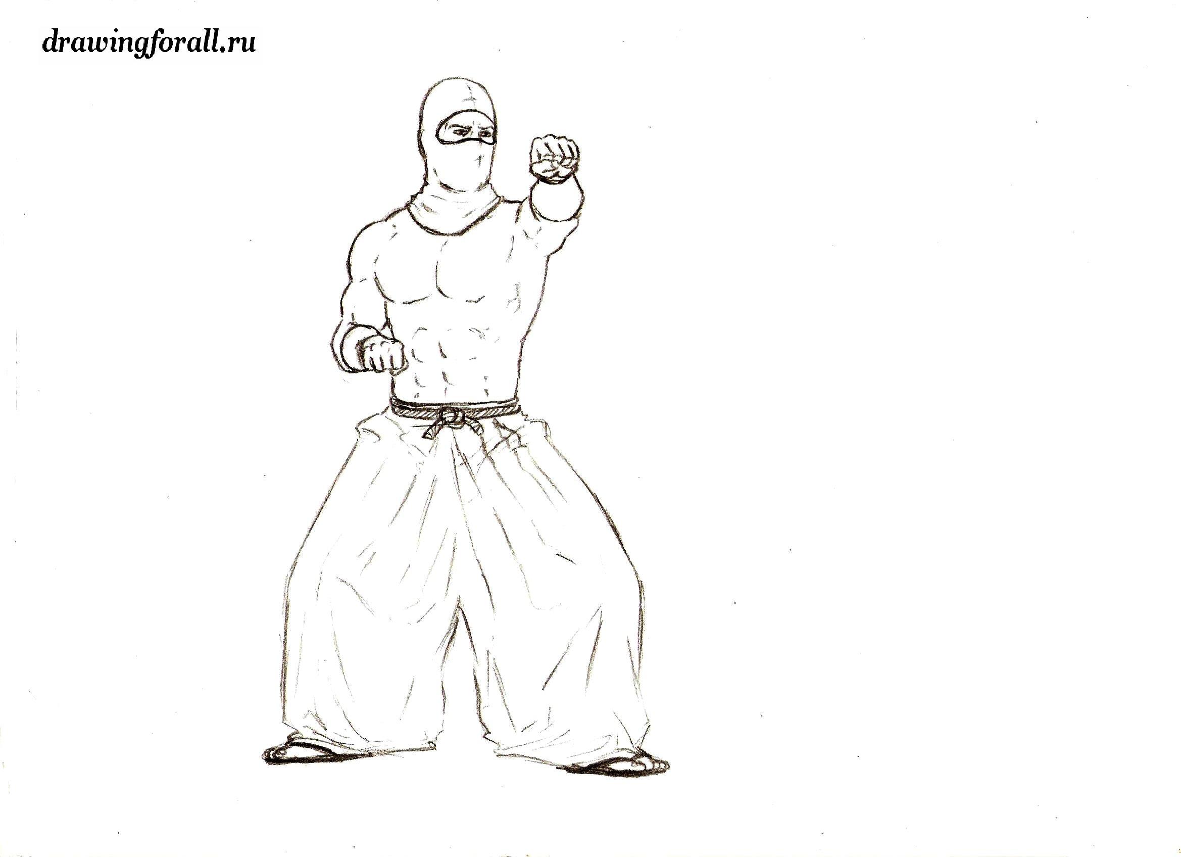 как нарисовать ниндзя поэтапно