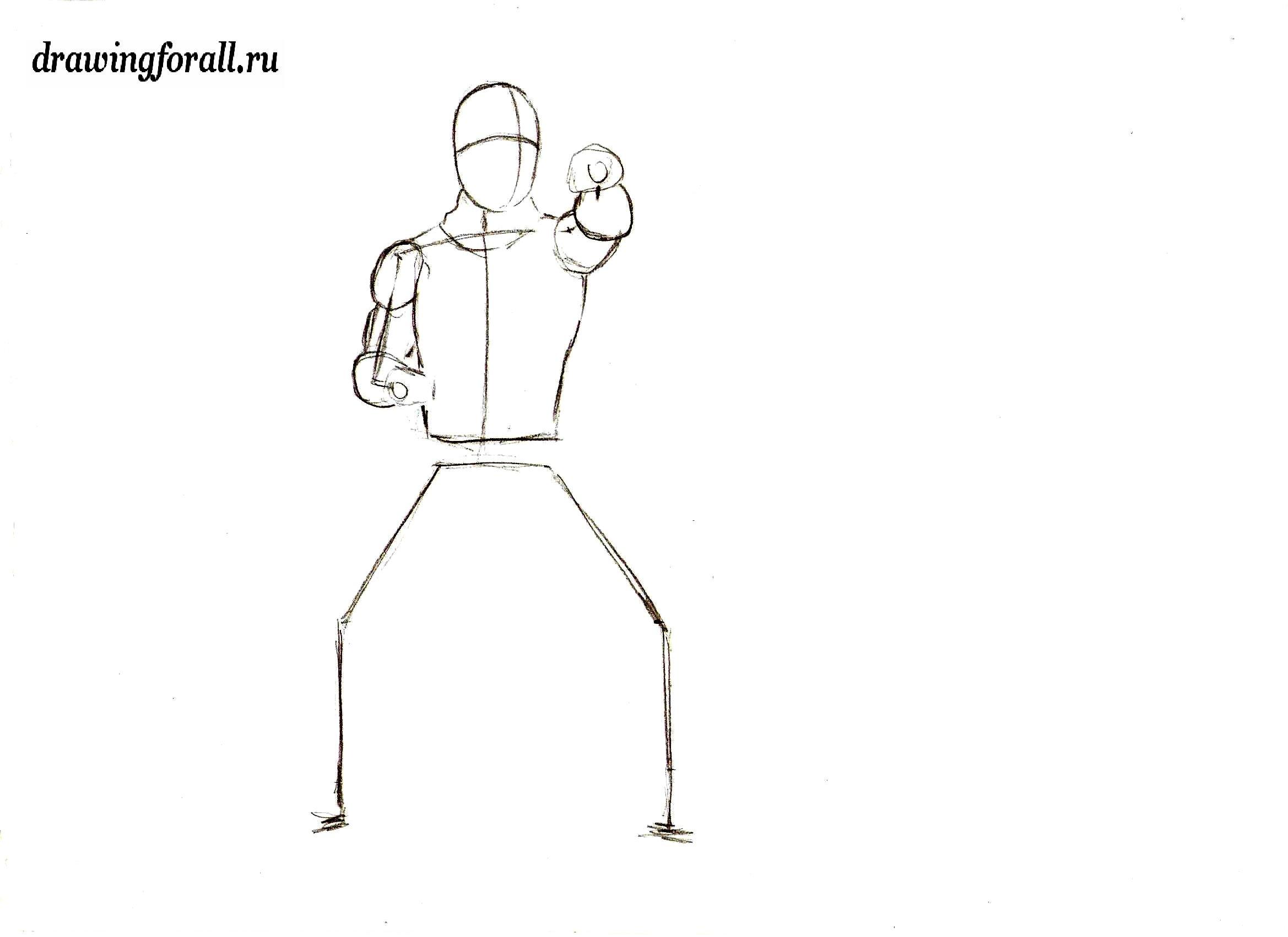 как нарисовать ниндзя человека