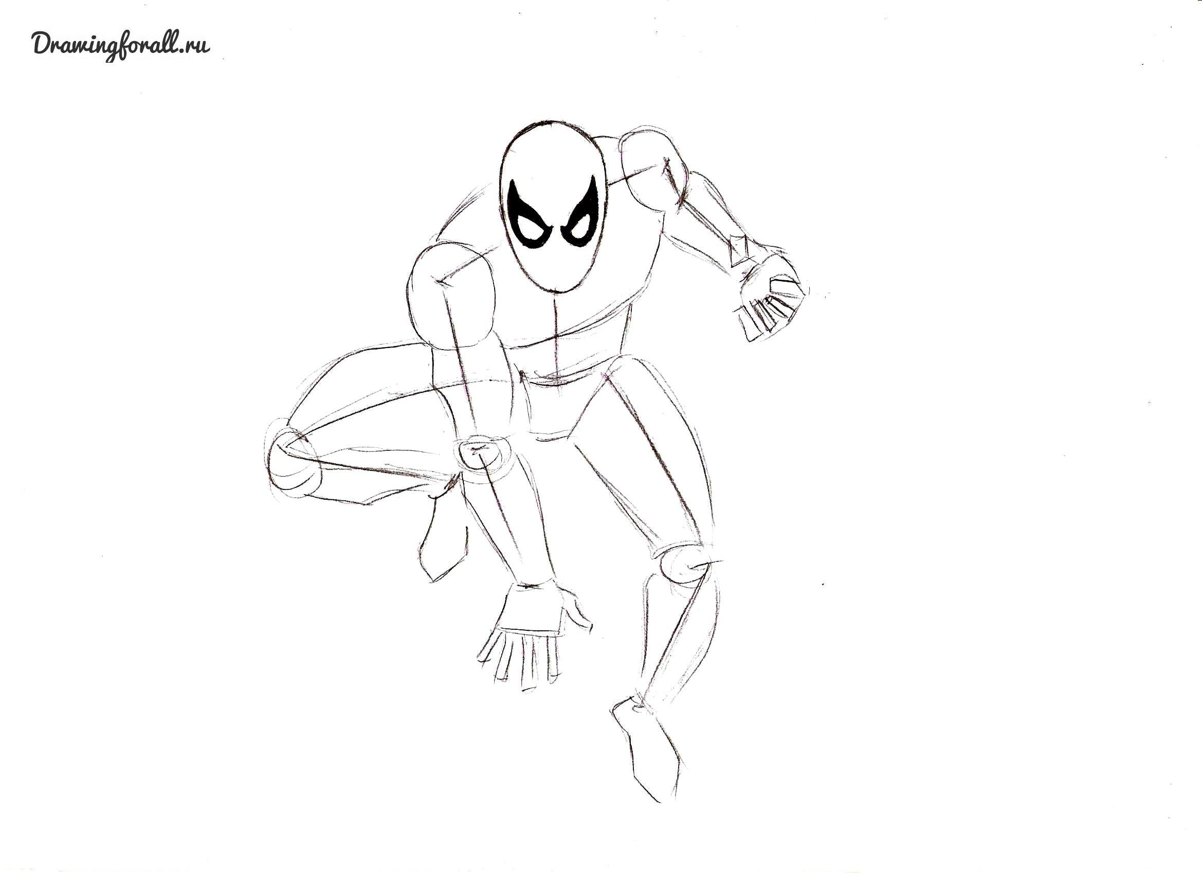 как нарисовать нового человека паука