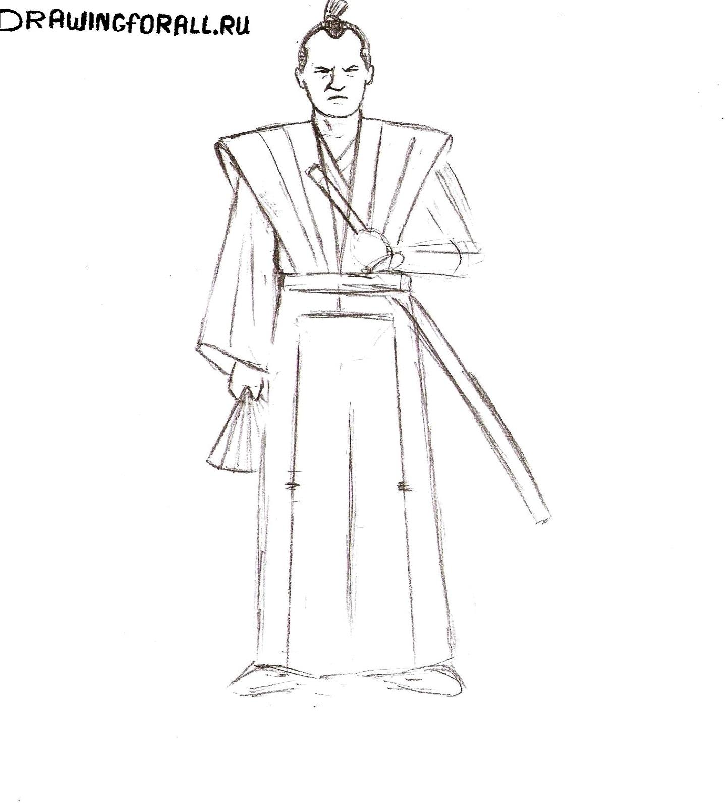 как нарисовать самурая для начинающих