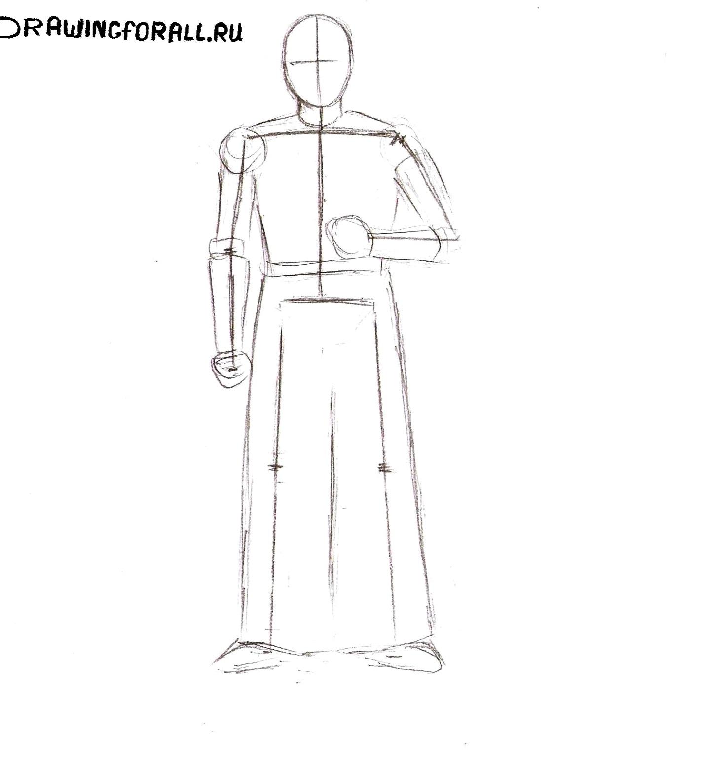 как нарисовать самурая карандашом