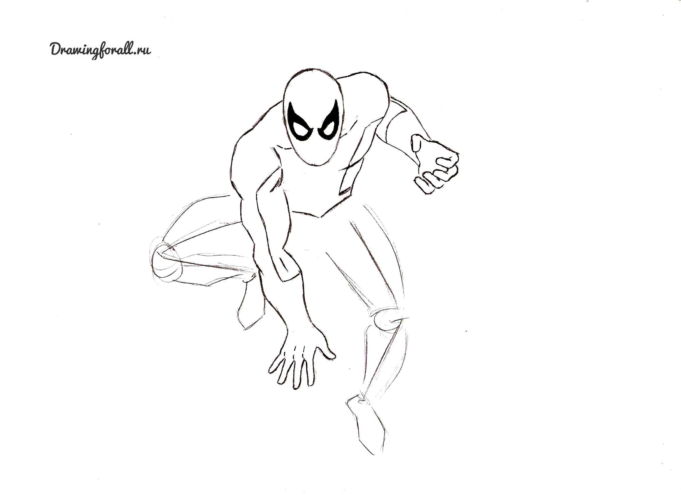 как нарисовать человека-паука фото