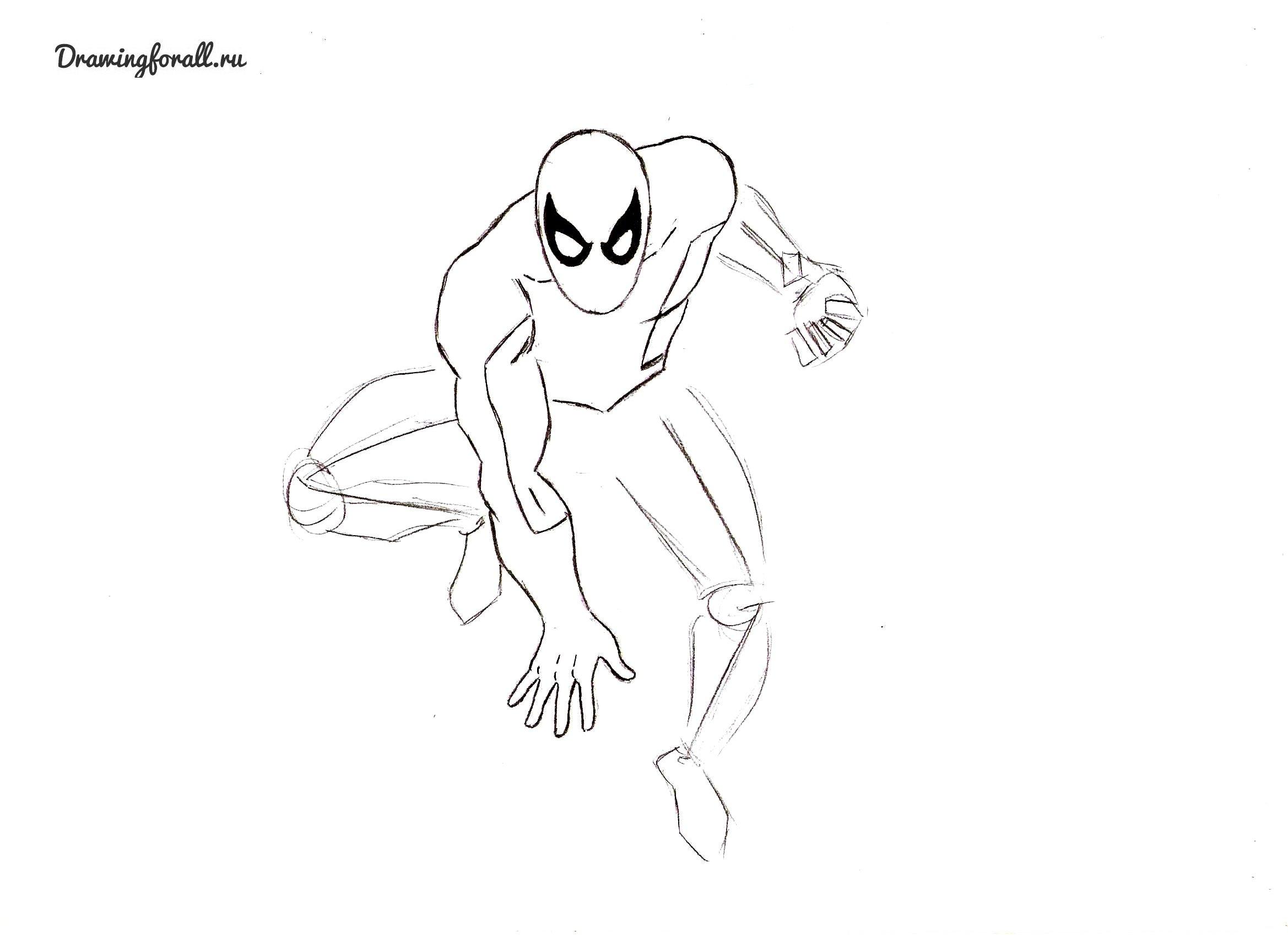 как нарисовать человека-паука 4