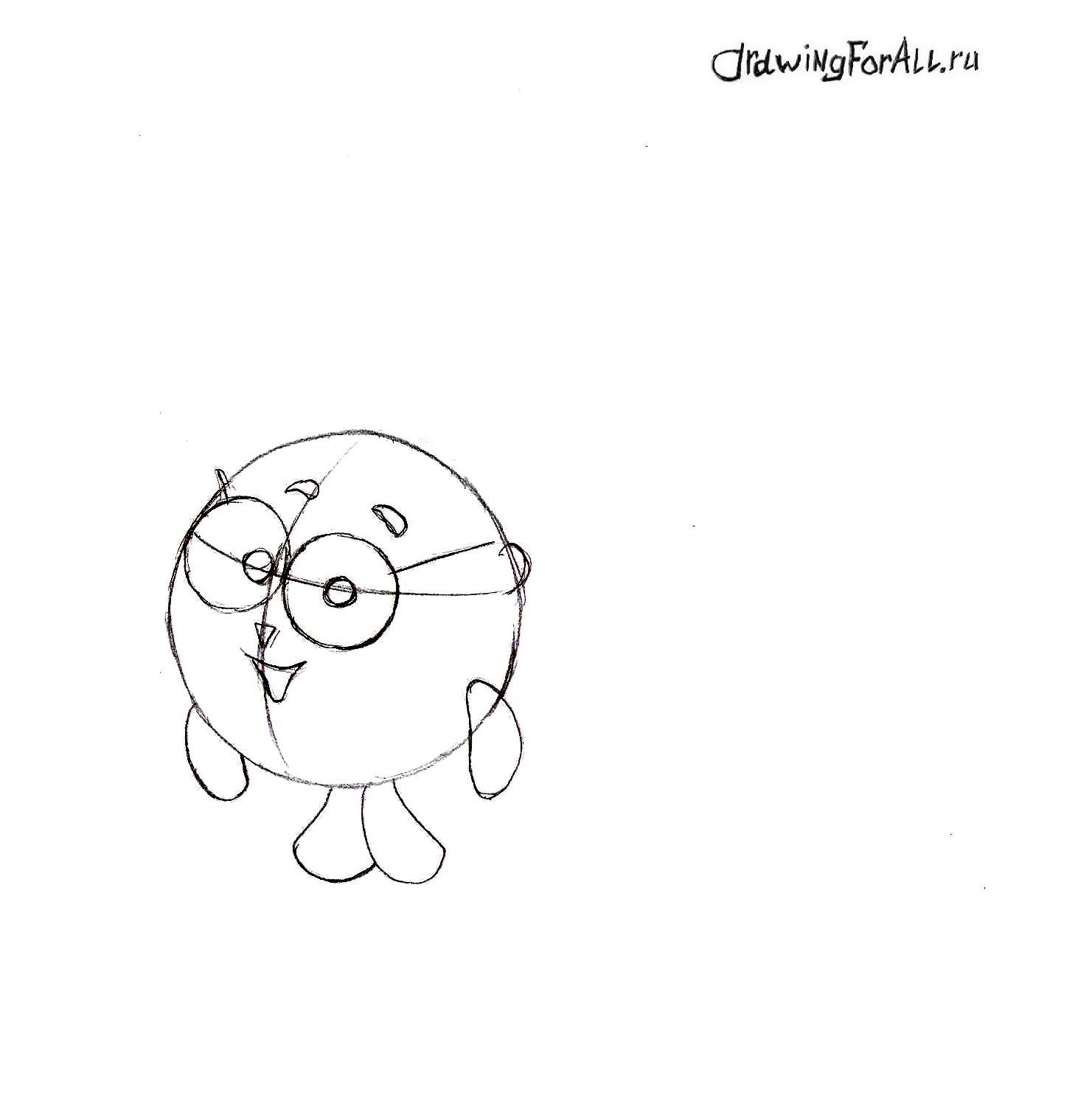 Как нарисовать Ёжика из Смешариков