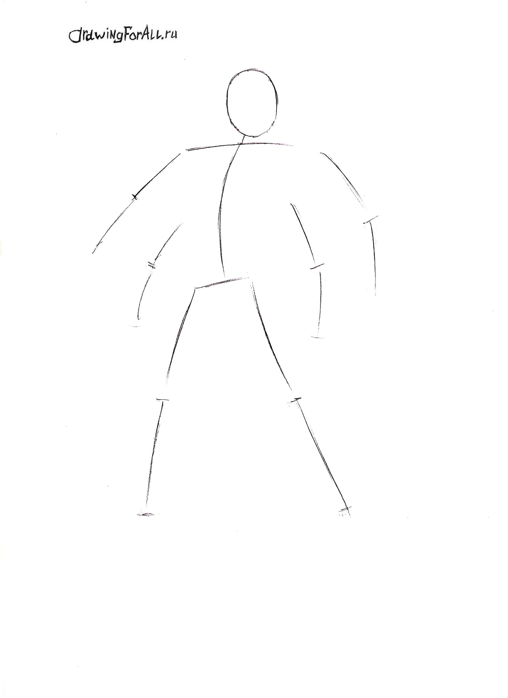 Как нарисовать Горо карандашом поэтапно
