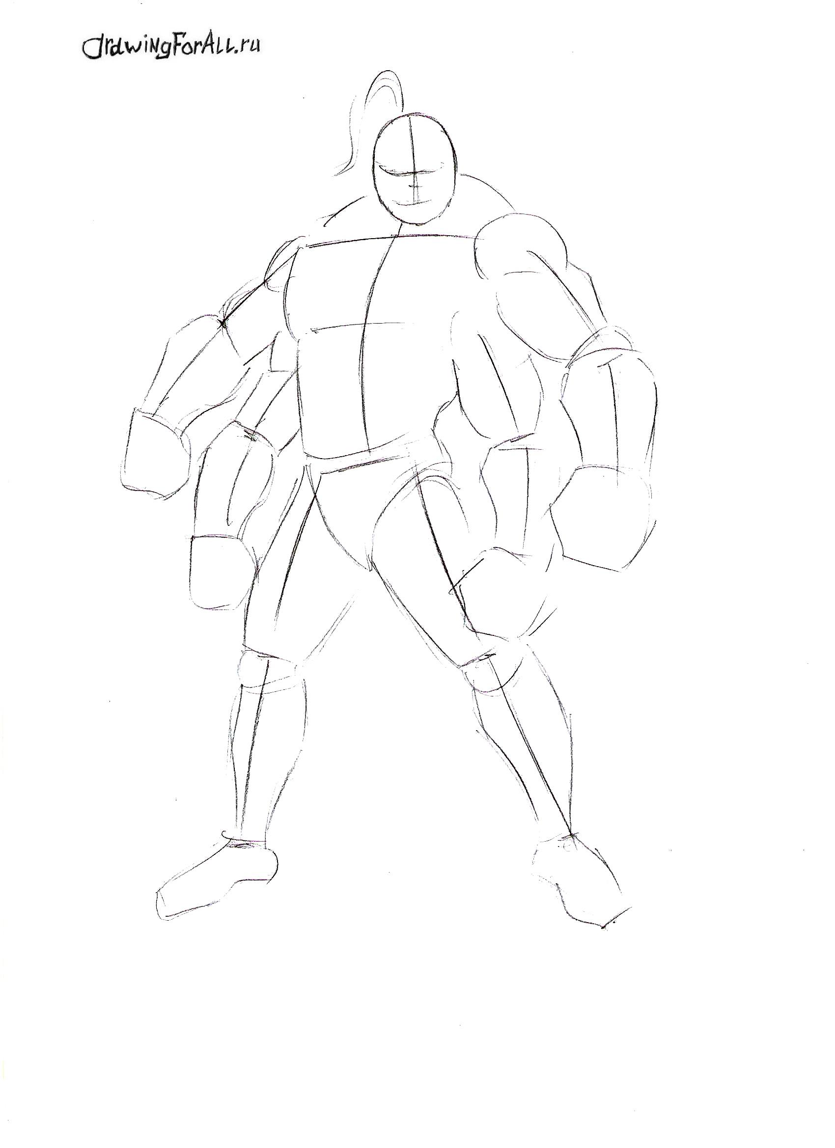 Как нарисовать Горо карандашом