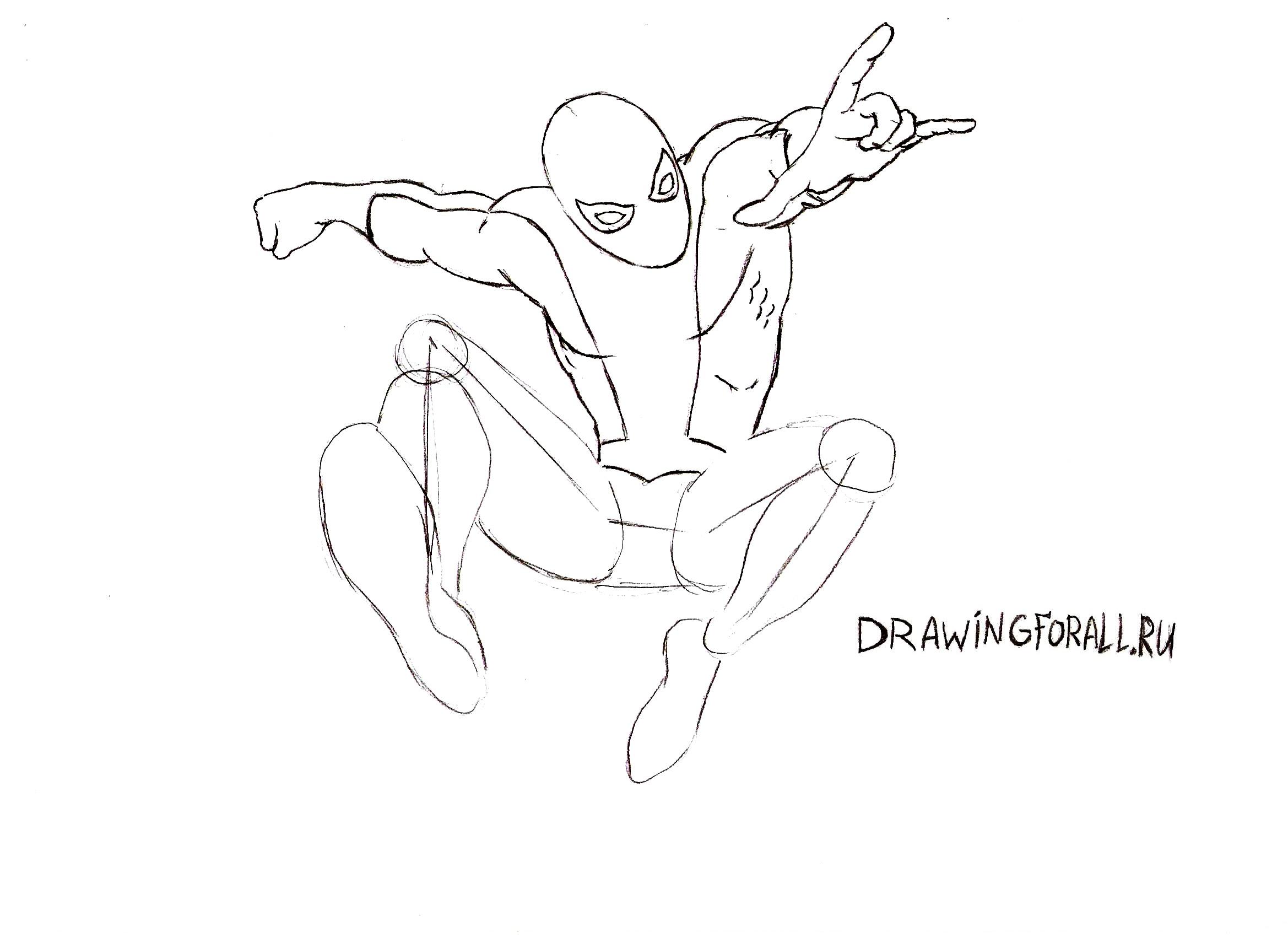 Как нарисовать Человека-Паука карандашом поэтапно