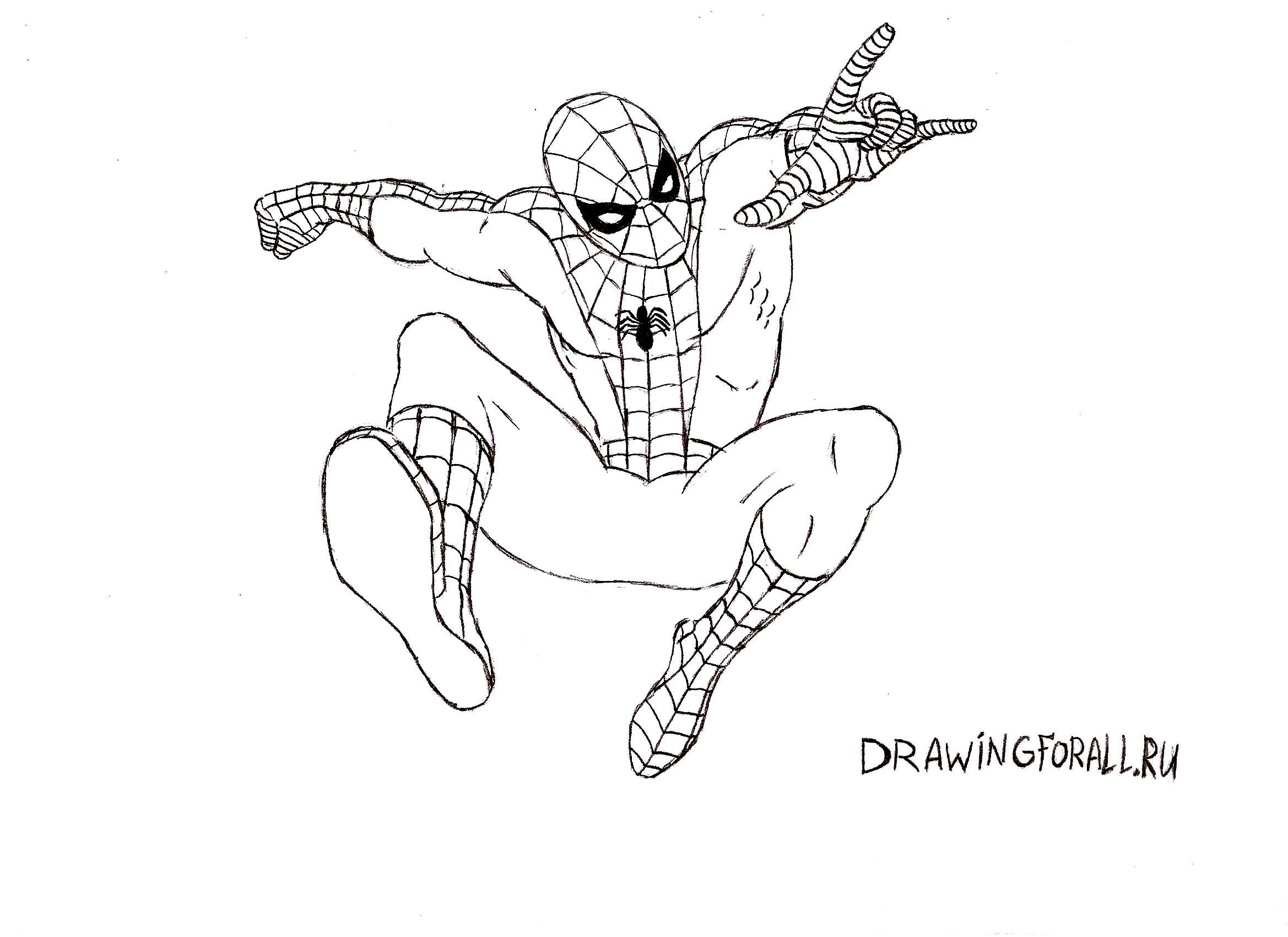 легкие рисунки человека паука карандашом поделитесь