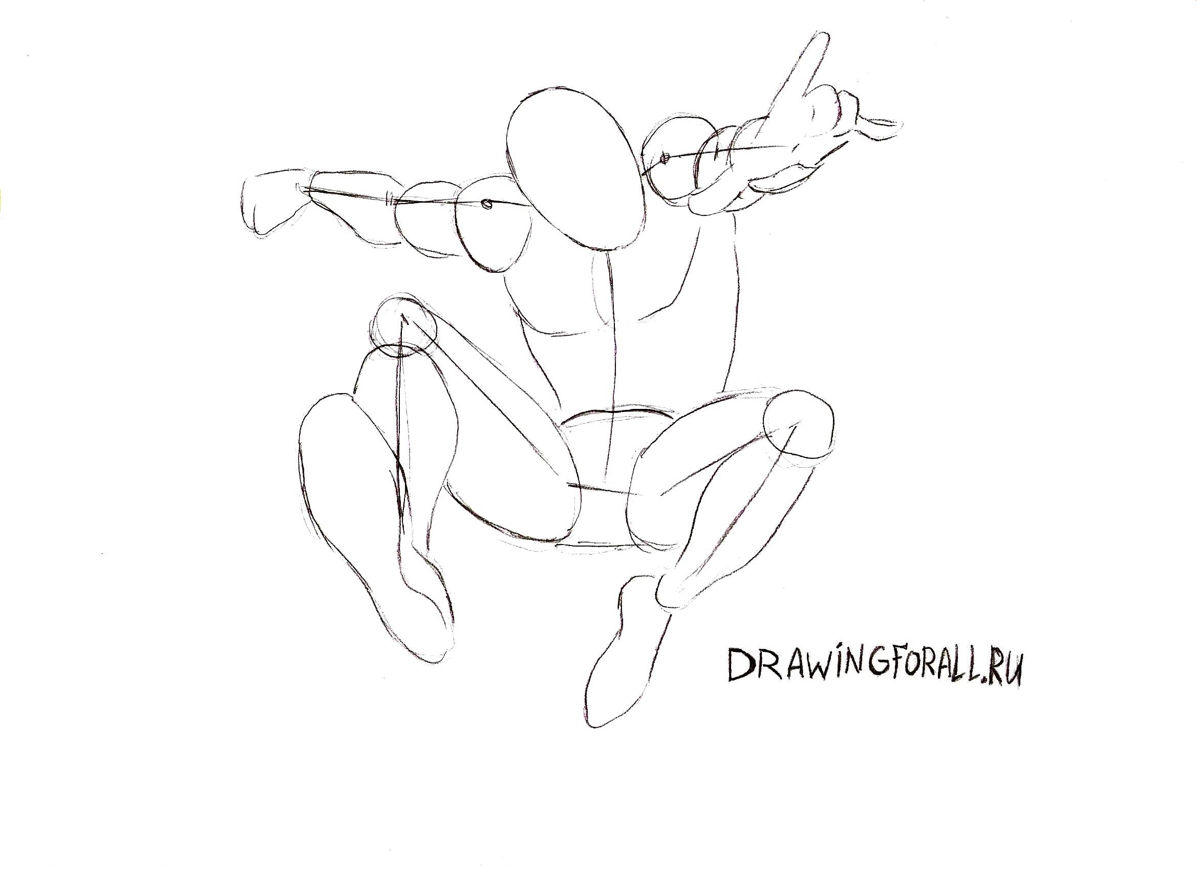 картинки как нарисовать человека паука поэтапно снимке
