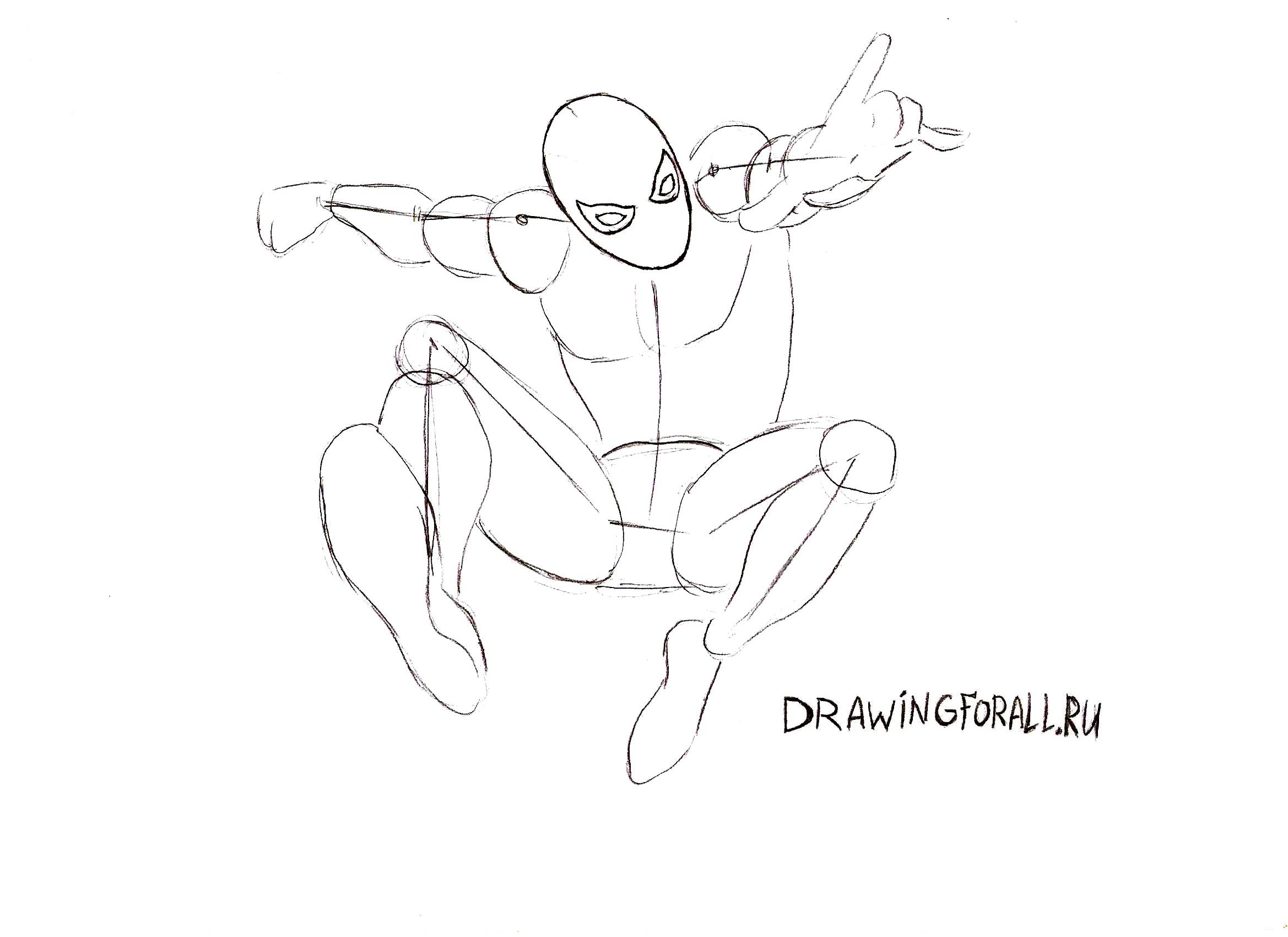 смотреть как нарисовать Человека-Паука