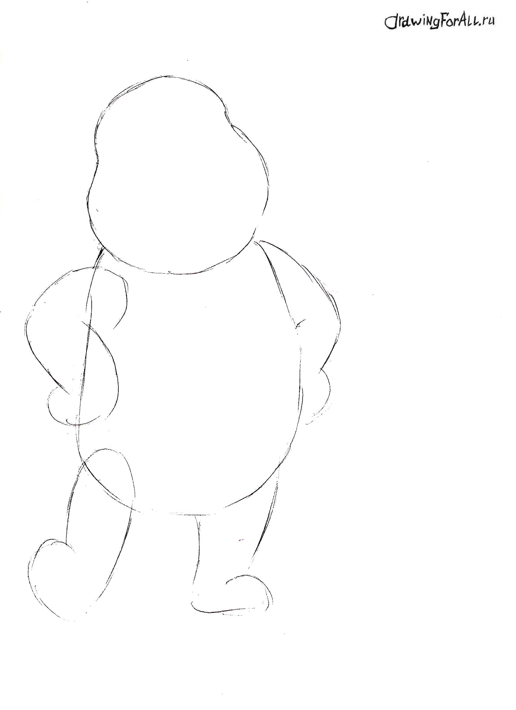 Винни Пух нарисованный карандашом