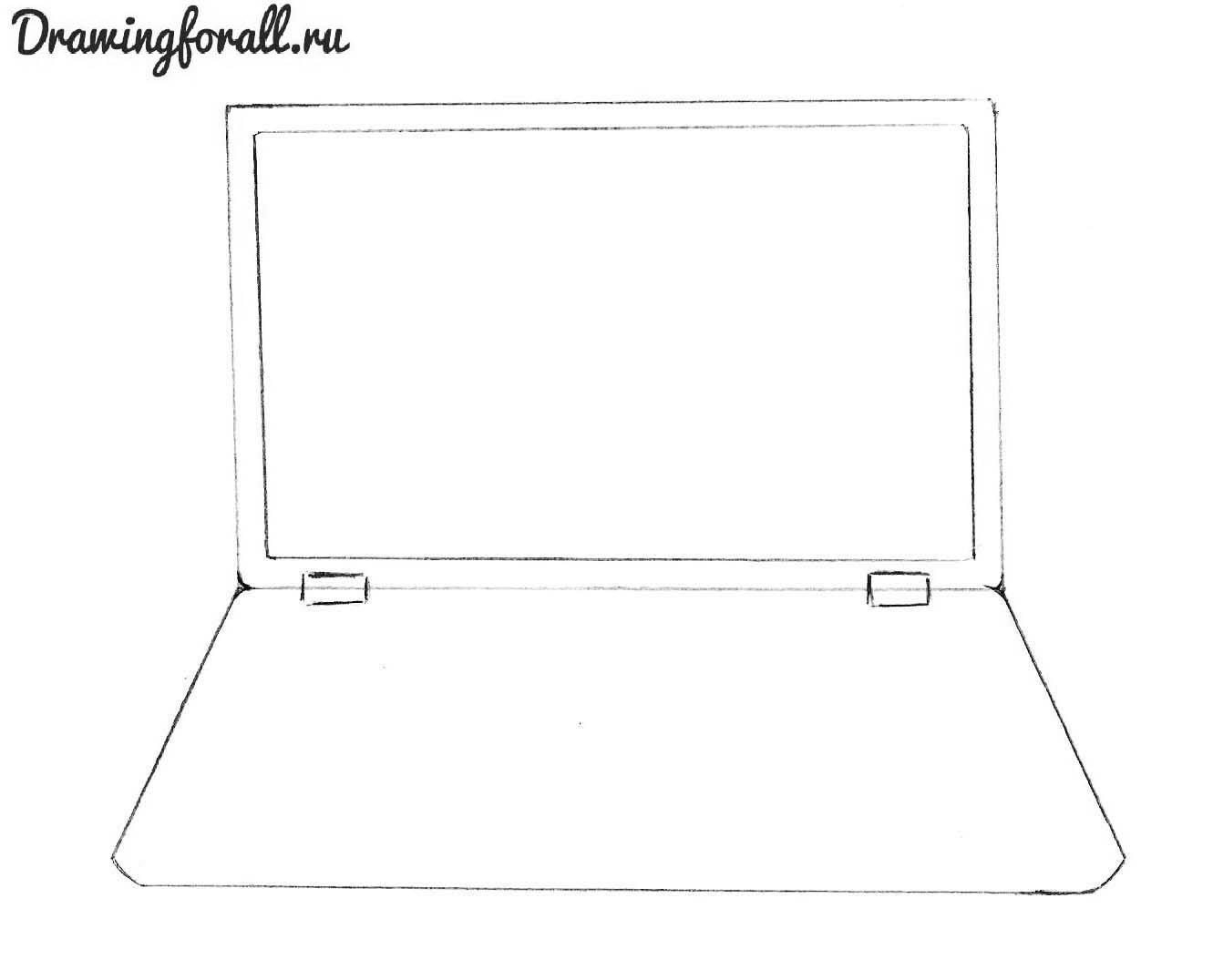 как нарисовать нуотбук карандашом поэтапно