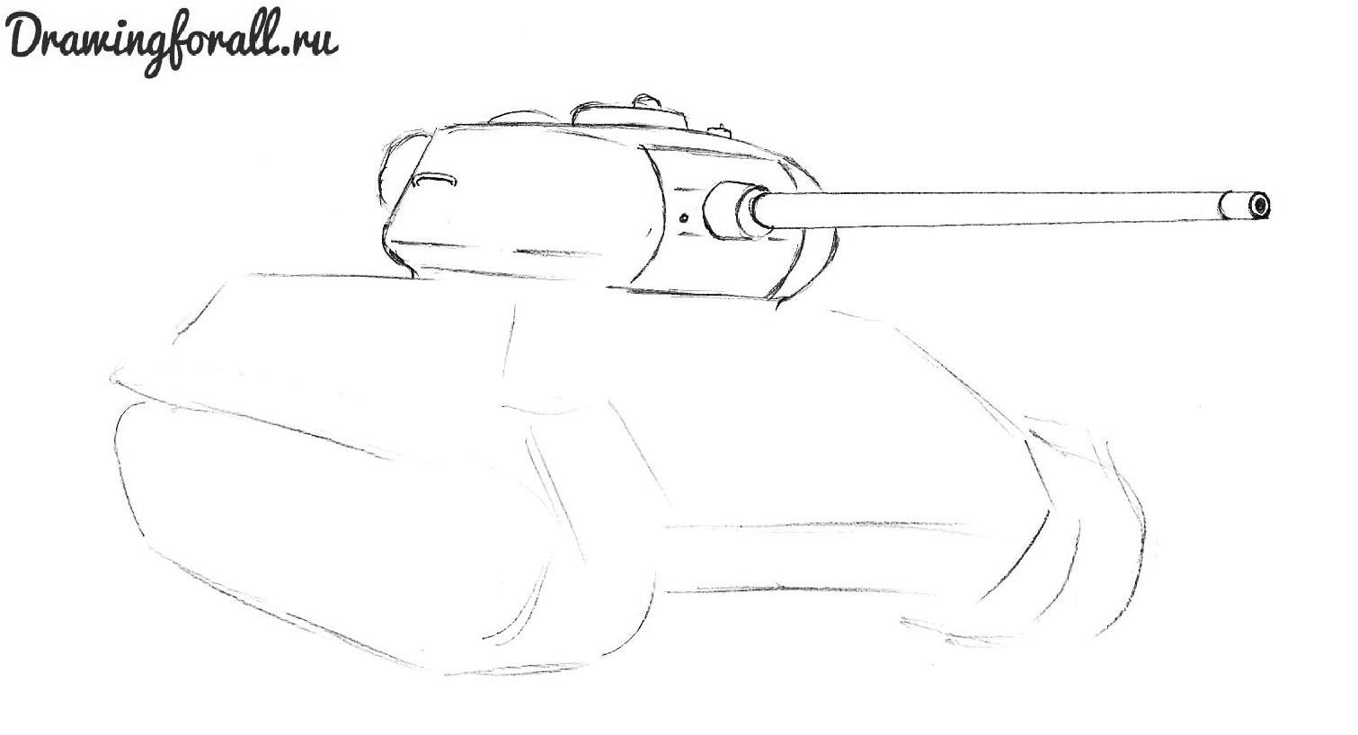 как нарисовать танк т34