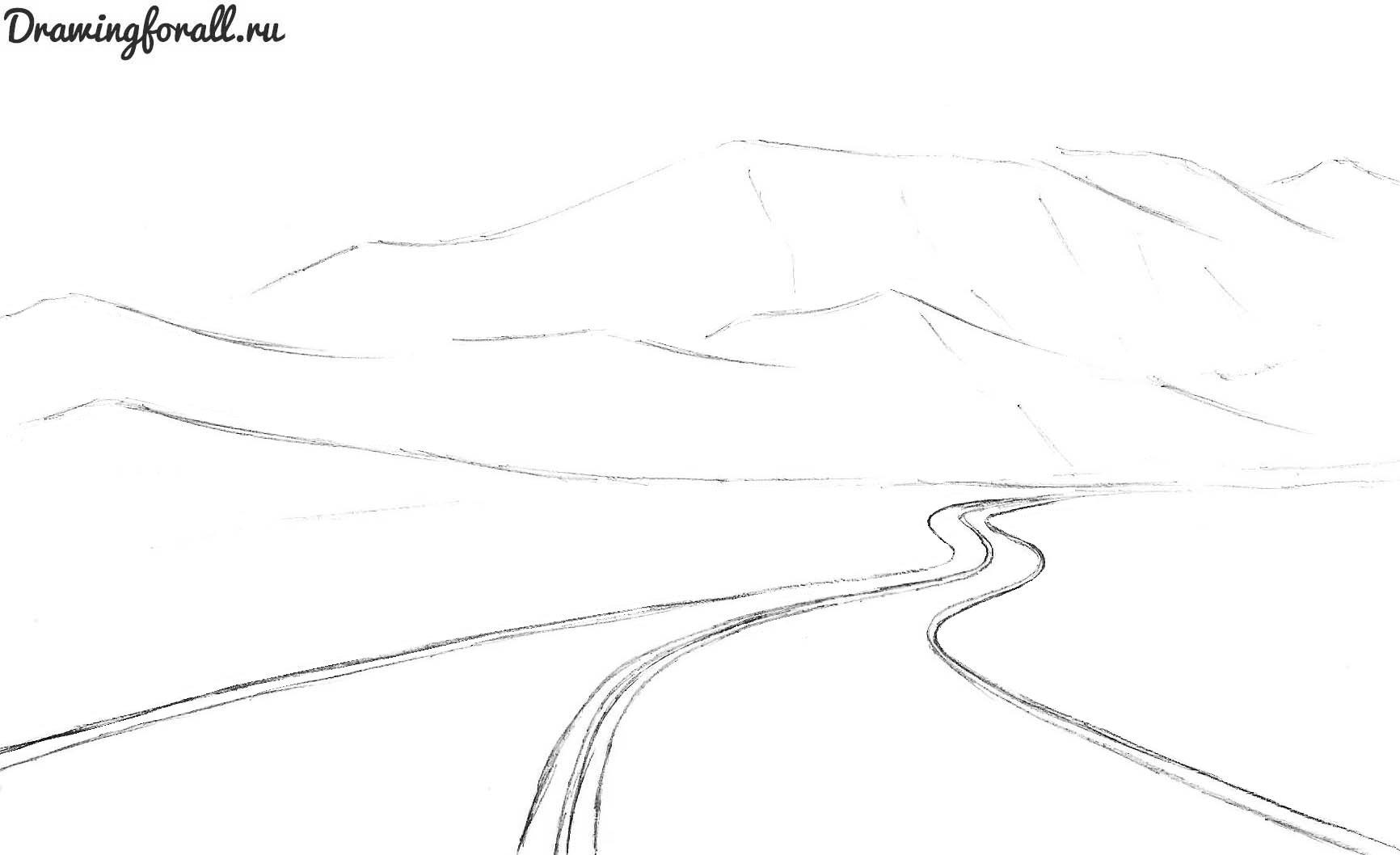 как нарисовать дорогу карандашом поэтапно