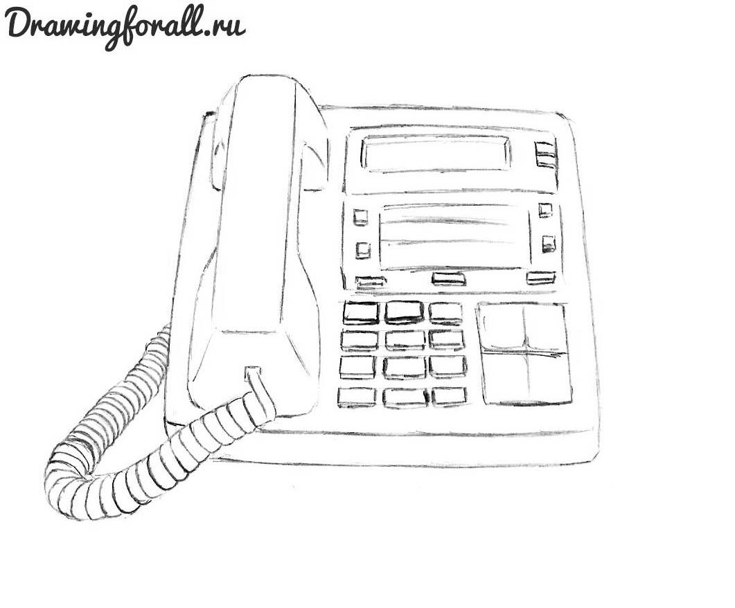 как нарисовать домашний телефон