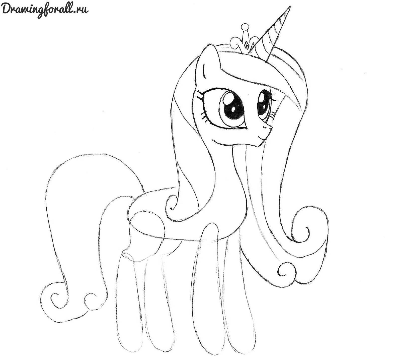 как нарисовать принцессу каденс карандашом поэтапно