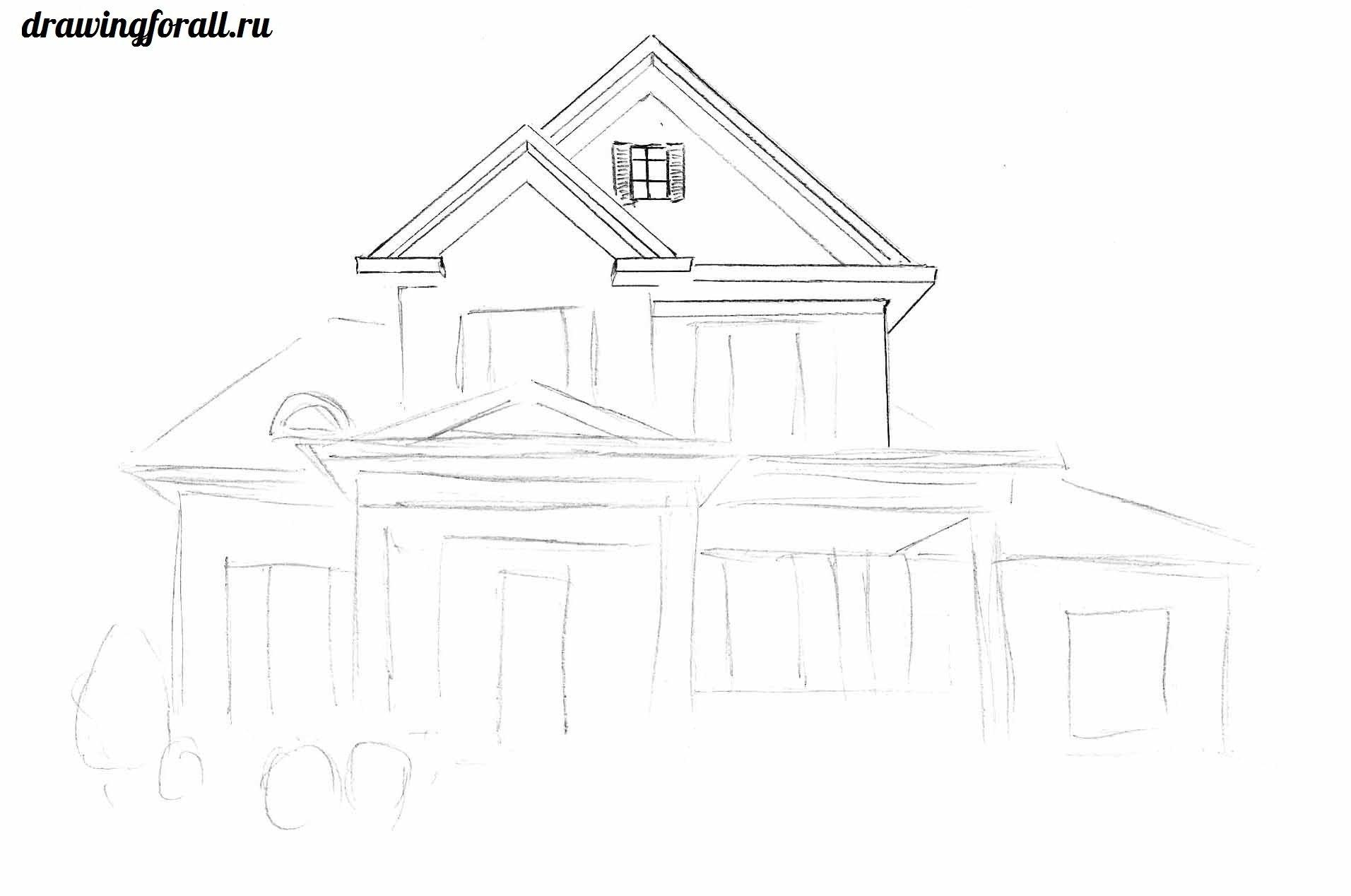 дом нарисованный карандашом