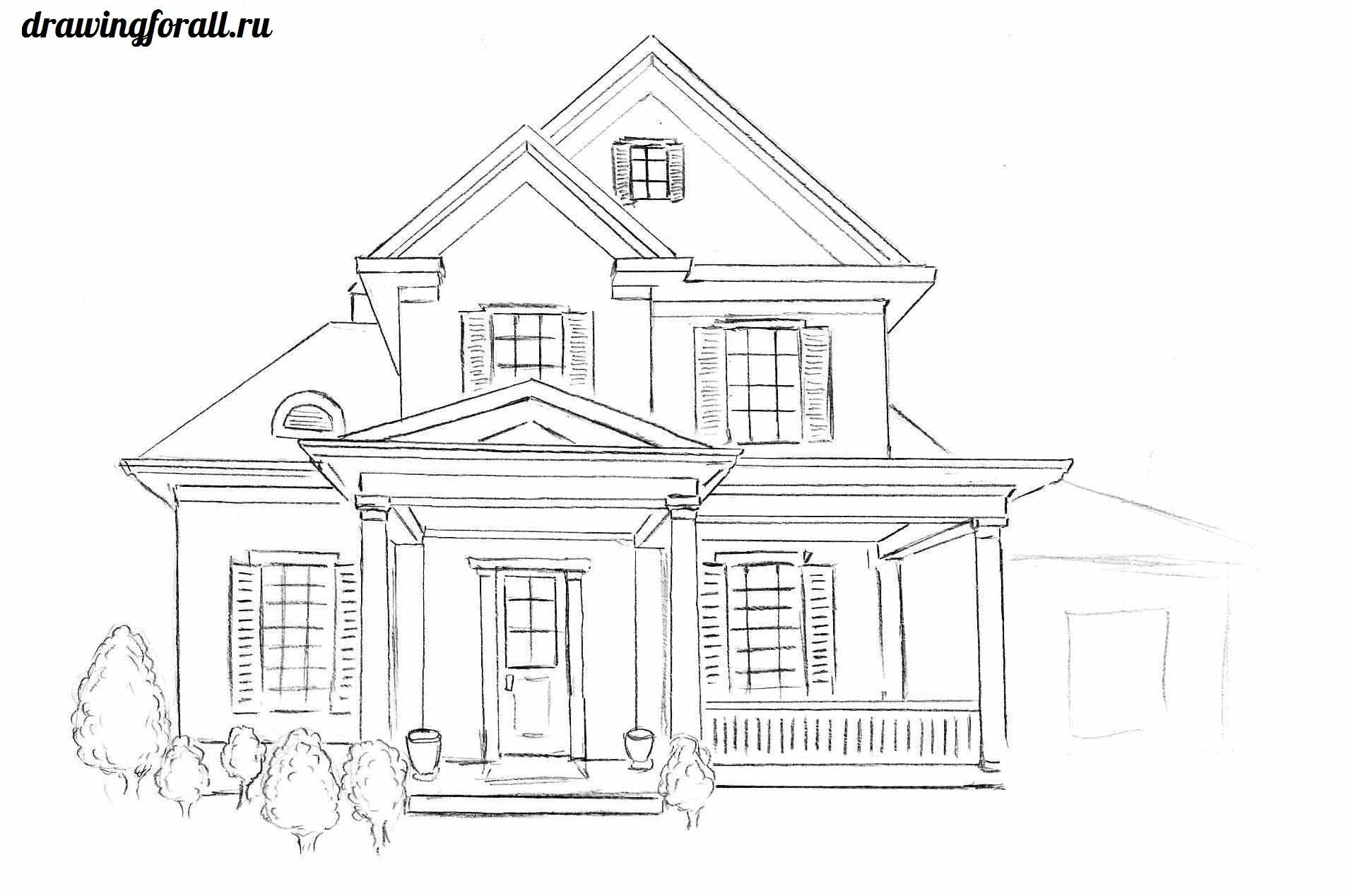 как нарисовать дом карандашом поэтапно 1