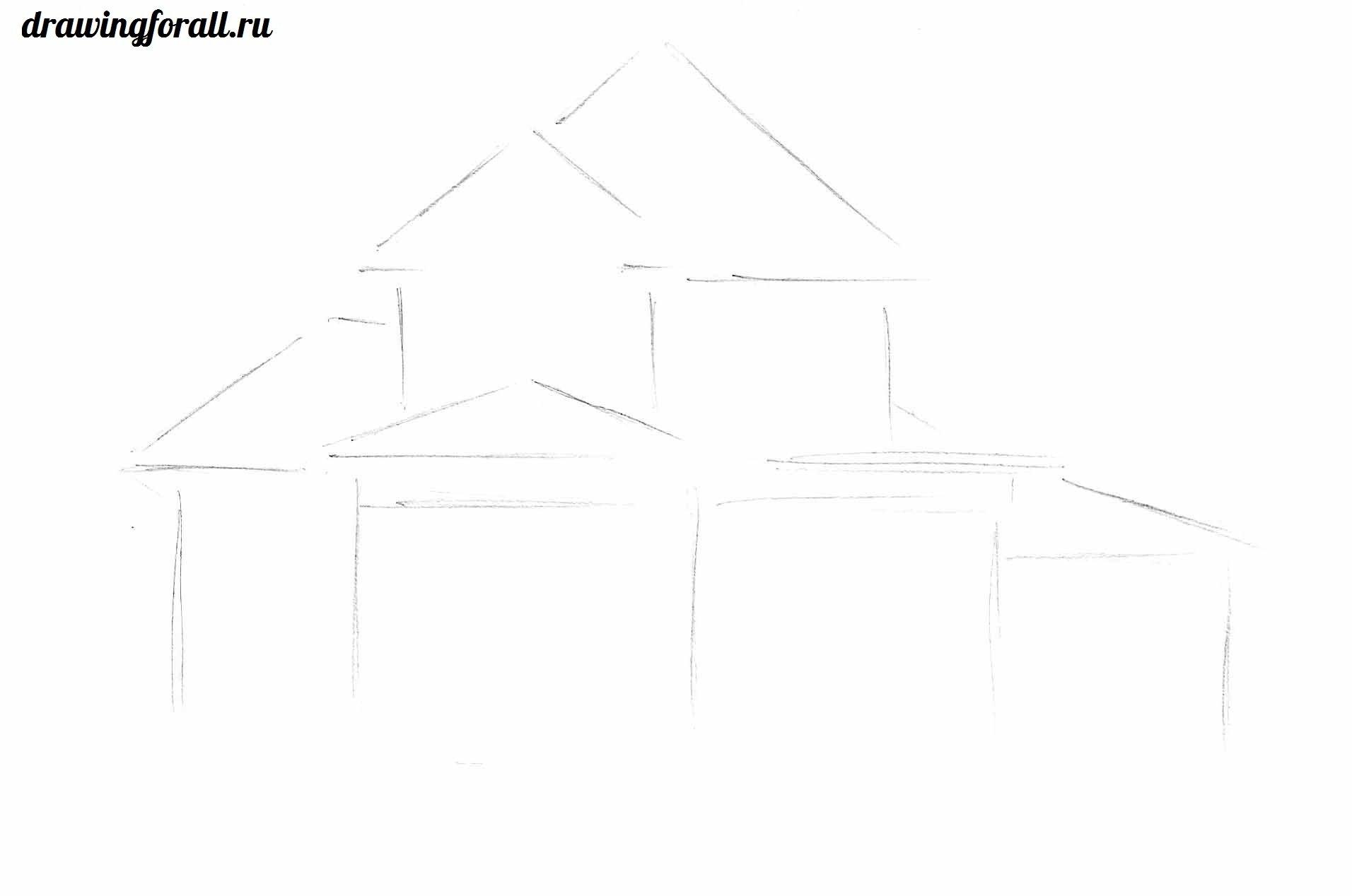 как нарисовать дом карандашом поэтапно