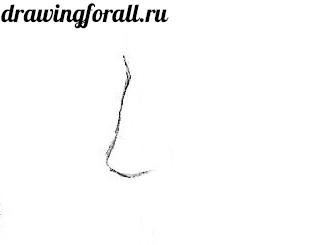 как нарисовать нос карандашом