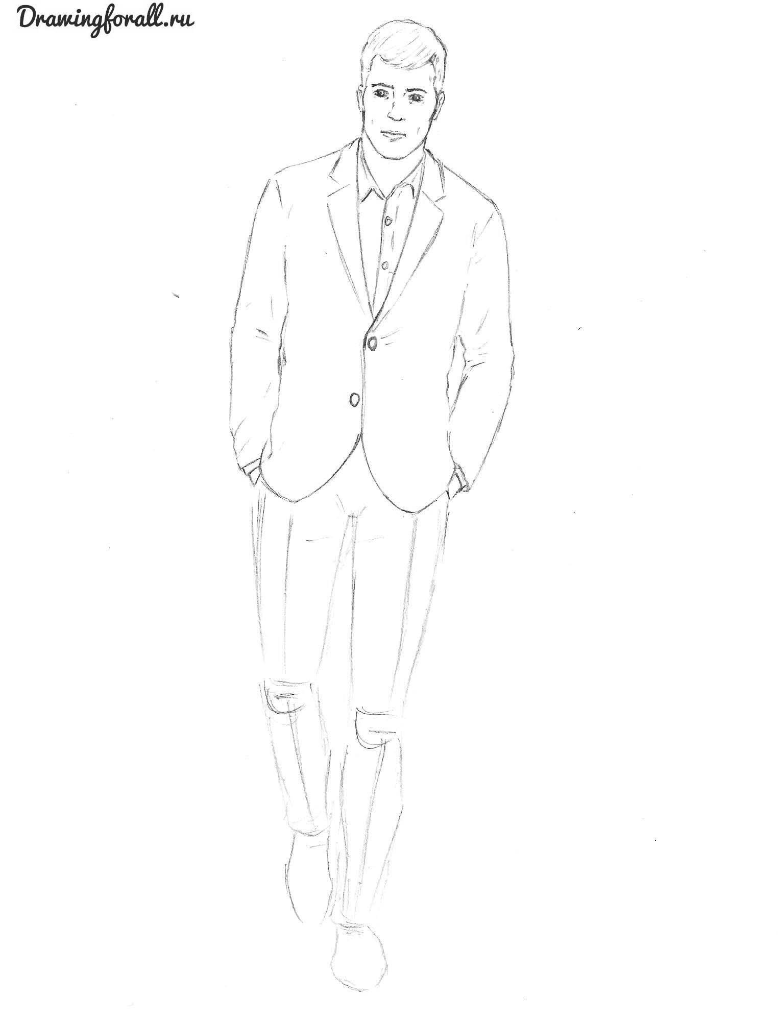 Как нарисовать человек в полный рост карандашом 109