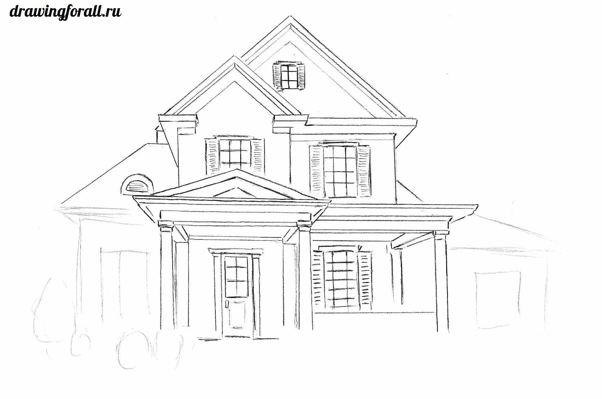 как рисовать дом поэтапно