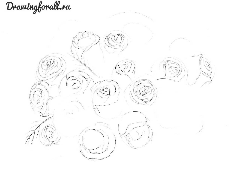 цветы нарисованные карадашом