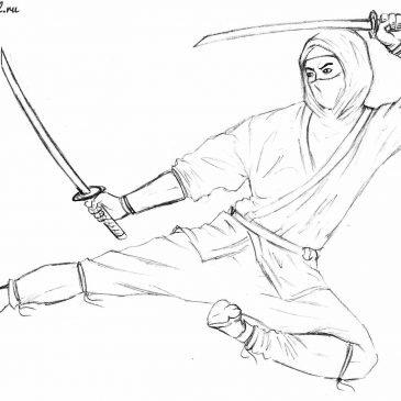 Как нарисовать ниндзя карандашом поэтапно