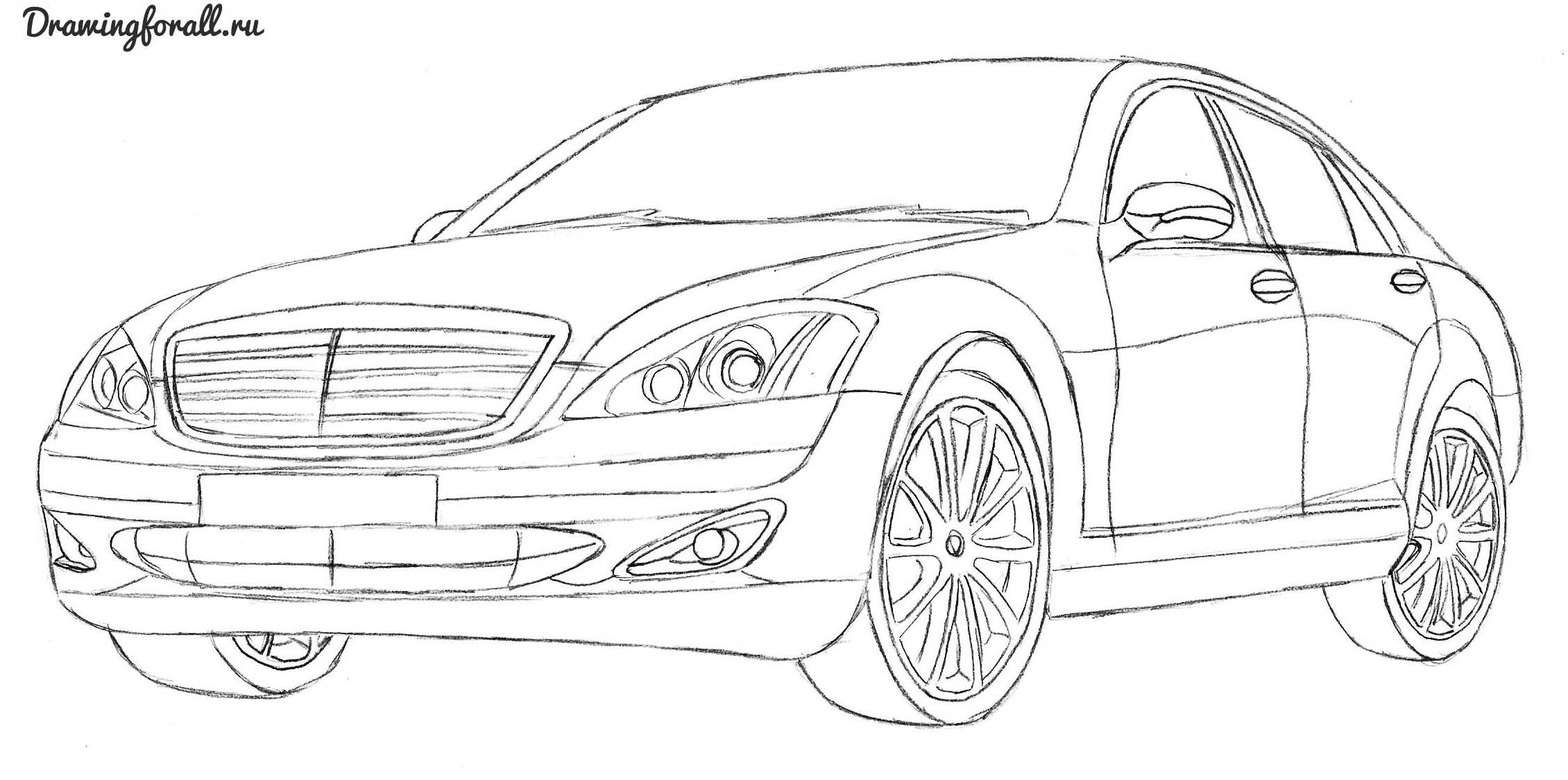как нарисовать автомбиль  мерседес
