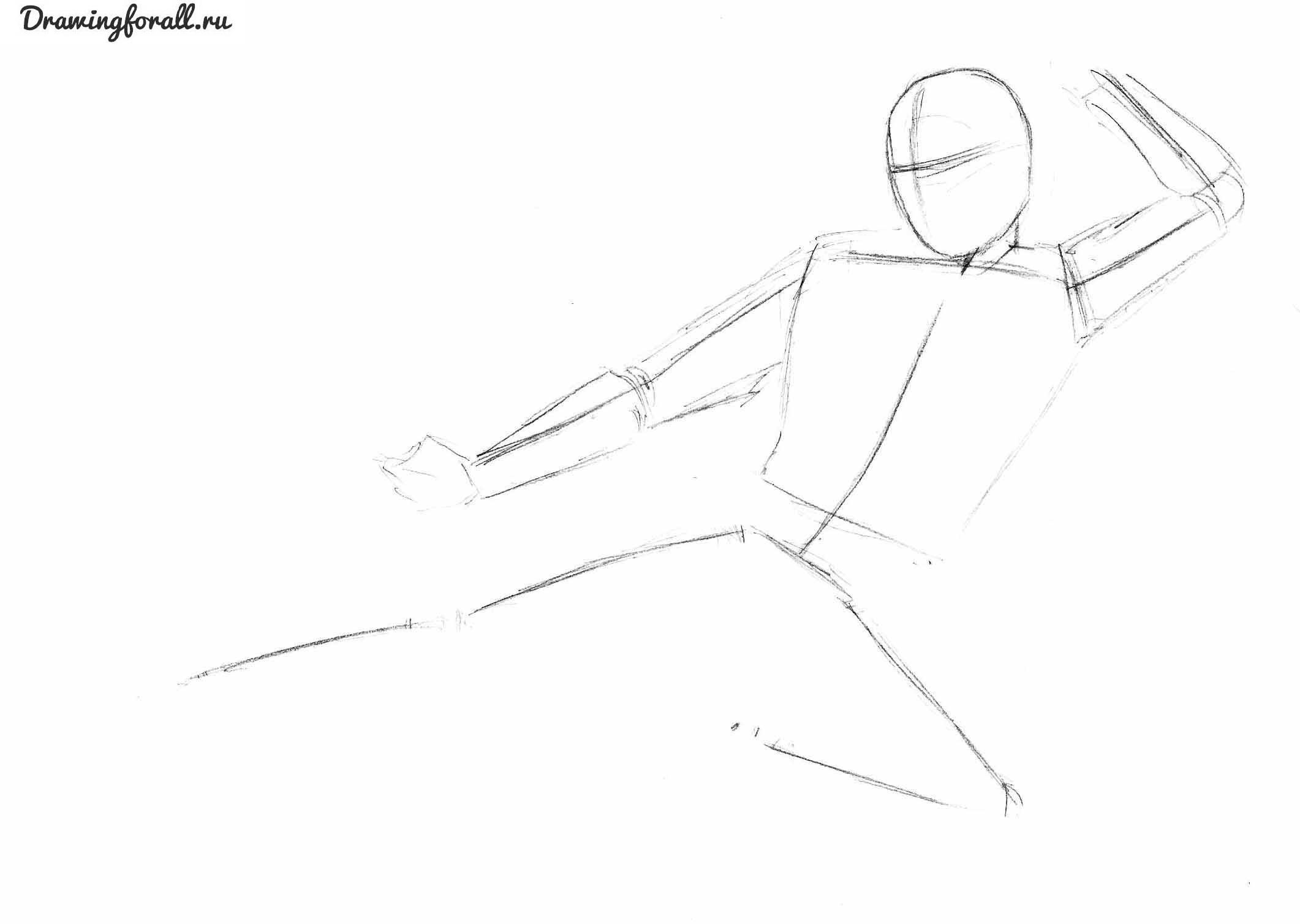 как рисовать ниндзя карандашом поэтапно
