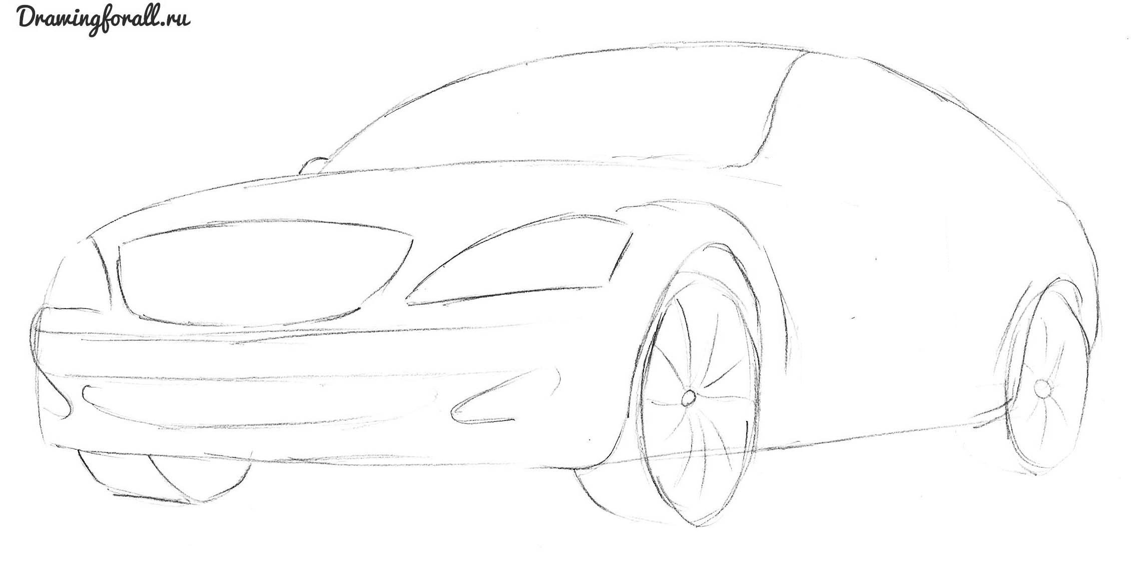 как нарисовать автомобиль мерседес