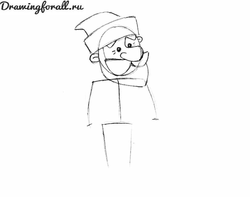 3 как нарисовать деда мороза для детей карандашом
