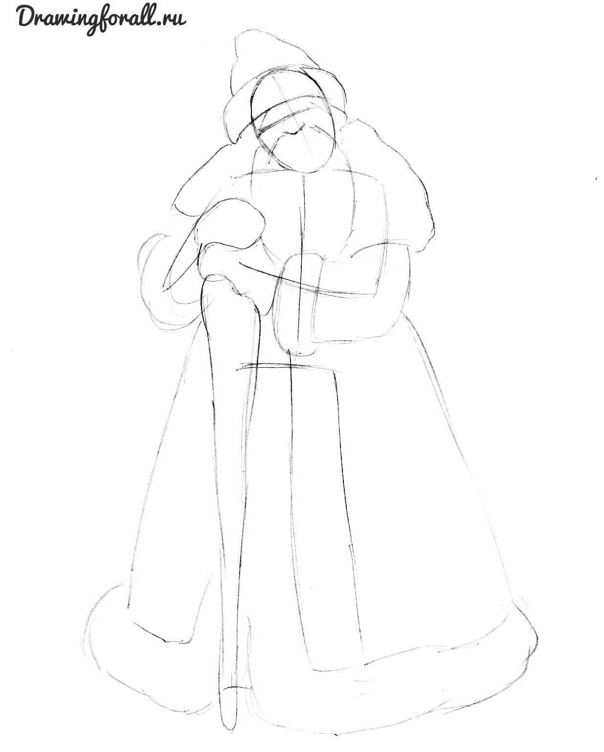 нарисовать деда мороза поэтапно карандашом