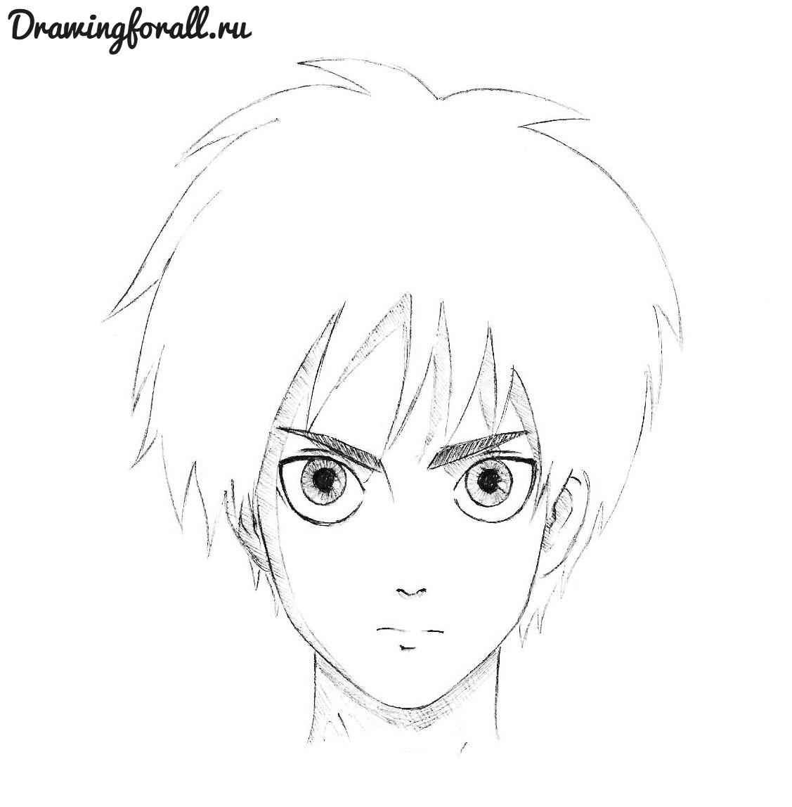 11-как-нарисовать-аниме-лицо Картинки аниме для срисовки карандашом. Животные, лица девушек, парней поэтапно. Мастер-классы для начинающих