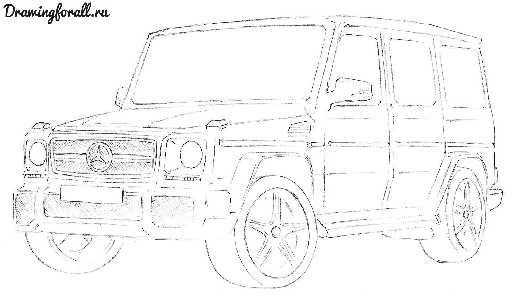 Как нарисовать машину мерседес бенс пошаговая инструкция