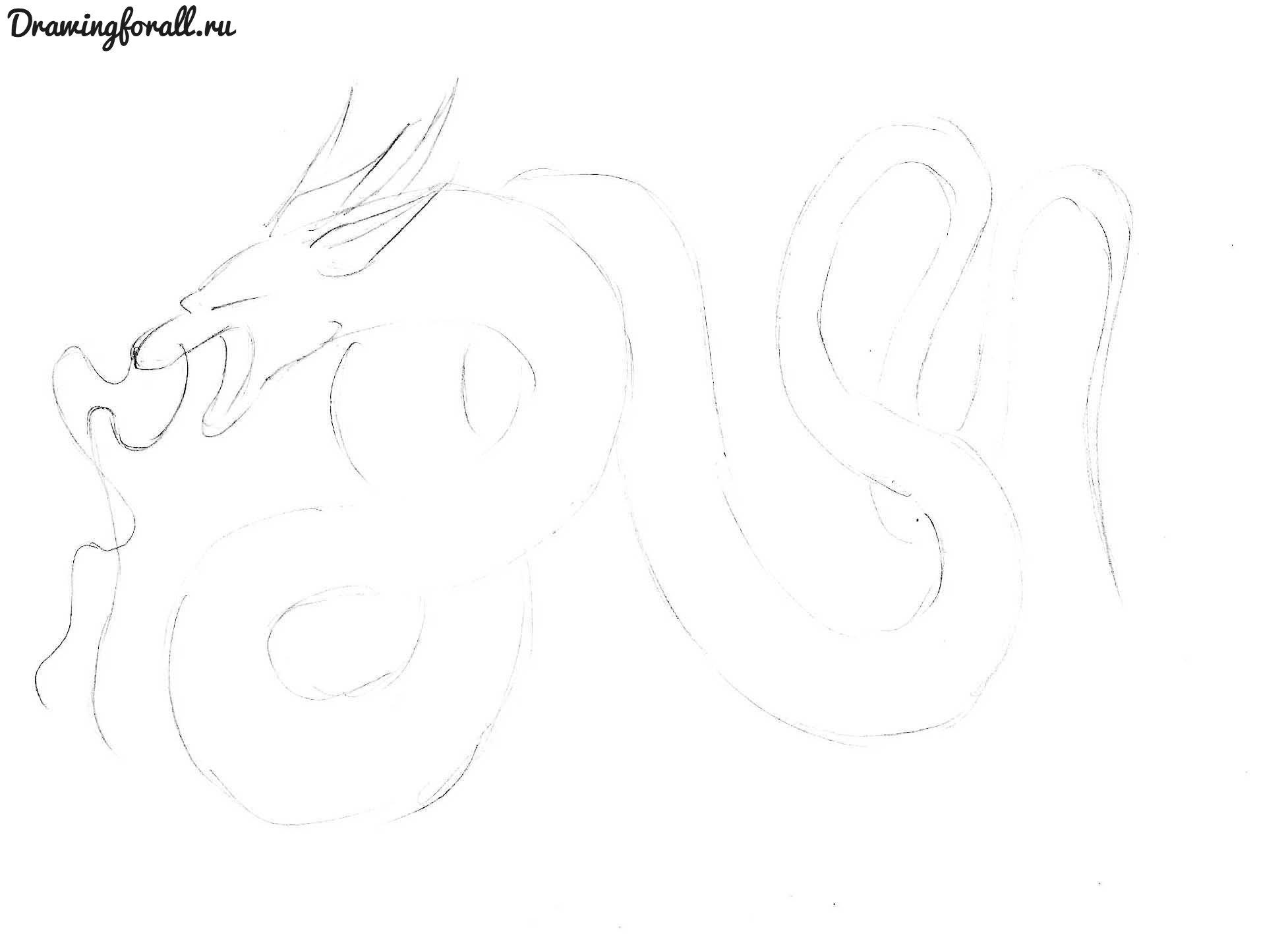 как нарисовать аниме дракона
