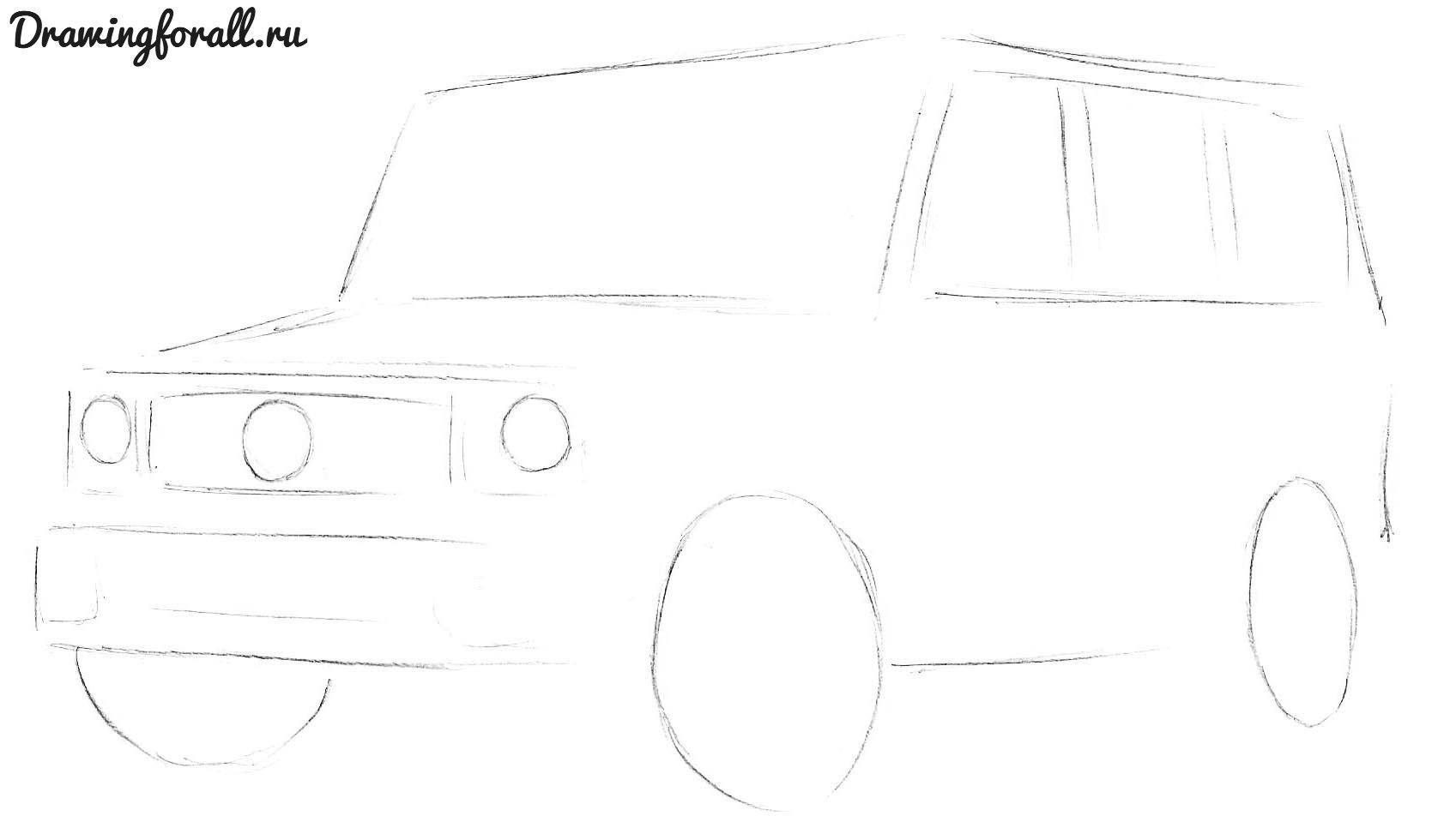как нарисовать мерседес гелендваген карандашом