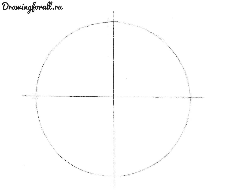 как нарисовать мяч карандашом