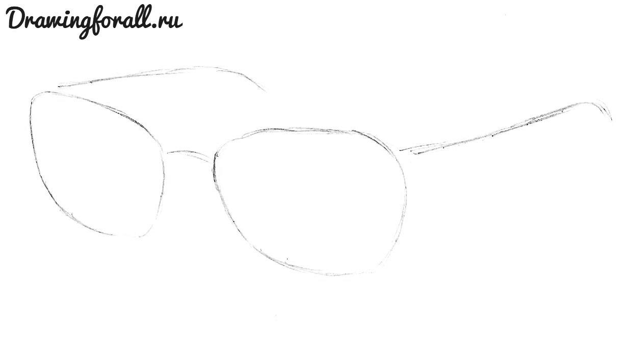 как нарисовать очки поэтапно