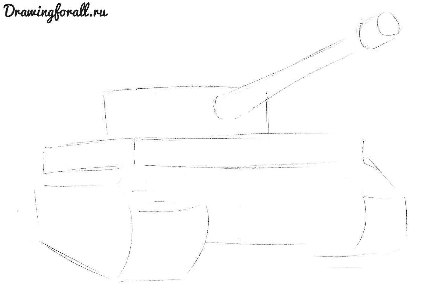как нарисовать танк тигр  карандашом