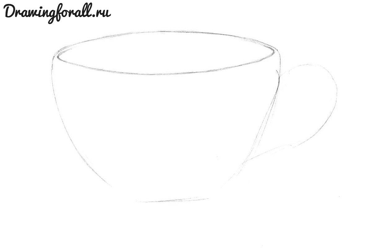 как нарисовать чашку карандашом поэтапно