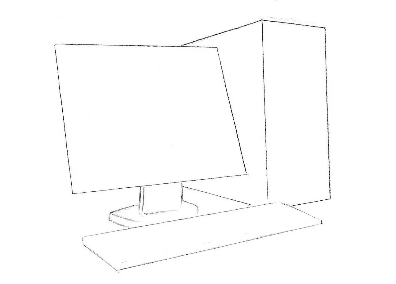 Как нарисовать компьютер  карандашом поэтапно