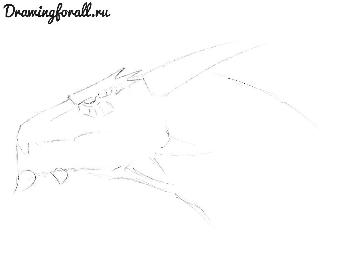 как нарисовать голову дракона поэтвано