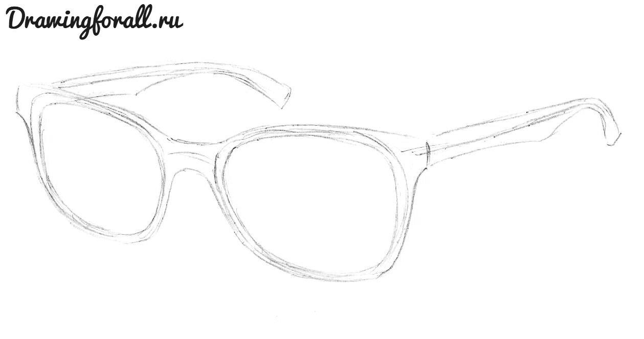 как нарисовать очки карандашом