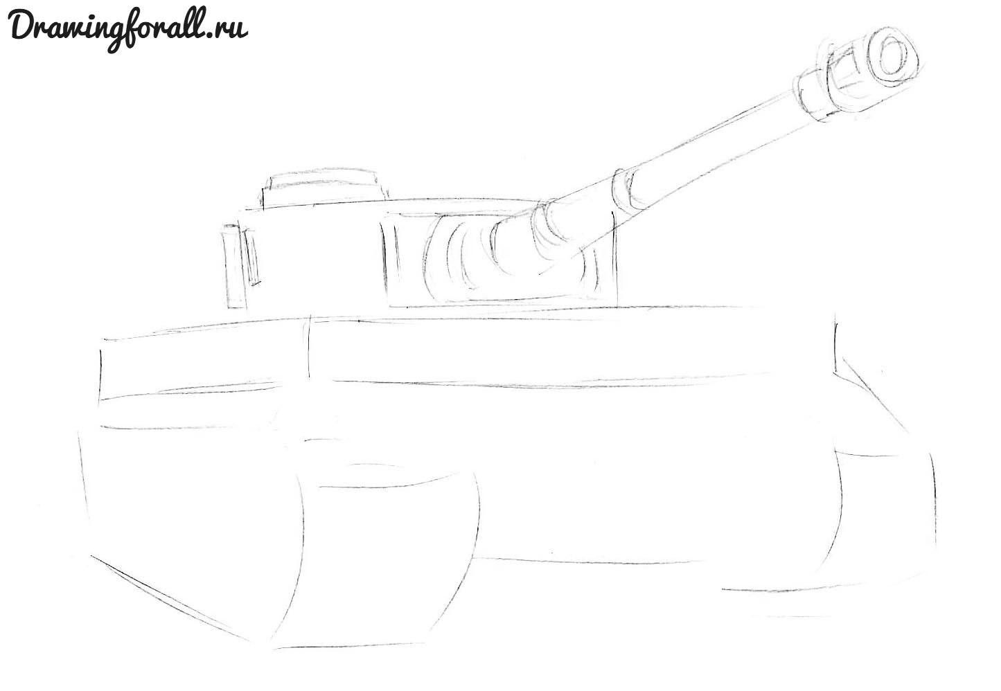 как нарисовать танк тигр карандашом поэтапно
