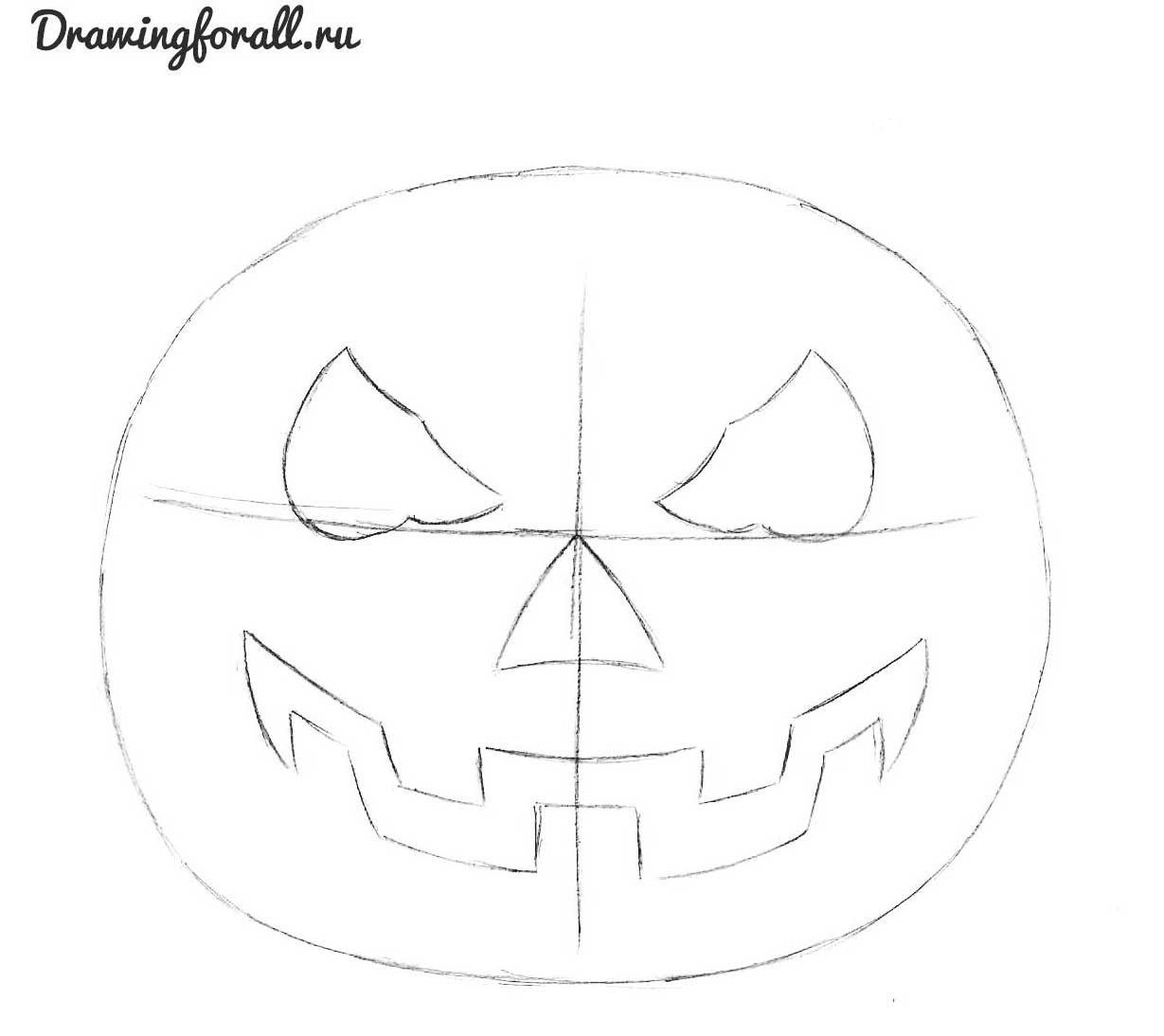 как нарисовать тыкву на хэллоуин поэтапно