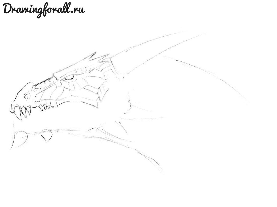 как нарисовать голову дракона карандашом поэтвано