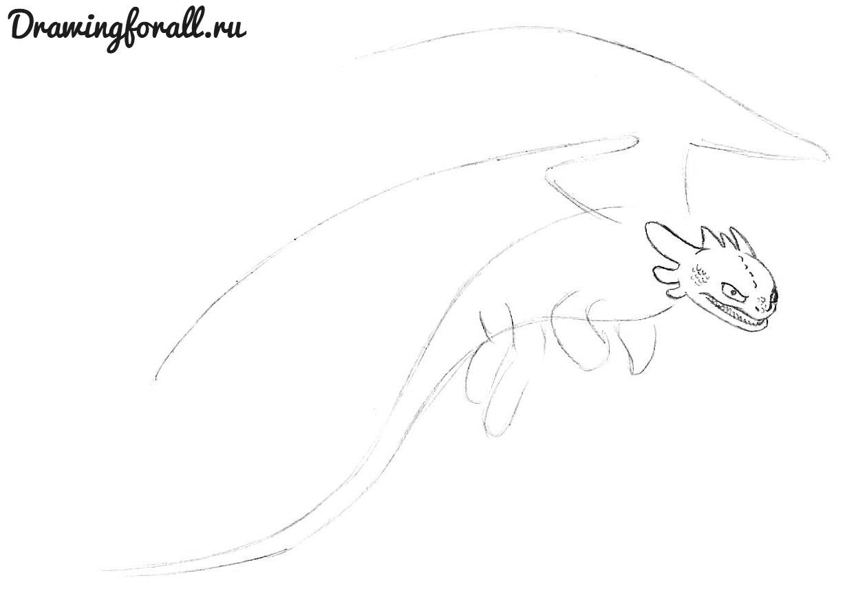 как нарисовать дракона беззубика